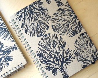 Spiral Notebook A5 Lined Journal  // Lino Print Recycled // Tree Linocut Print