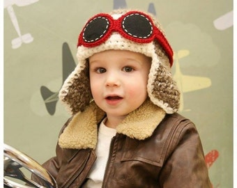 414fdf27aec Toddler Aviator Hat w Goggles - Fly - Airplane Hat - Photo Prop - ANY  Colors - Boy Girl Birthday Earflap Hat