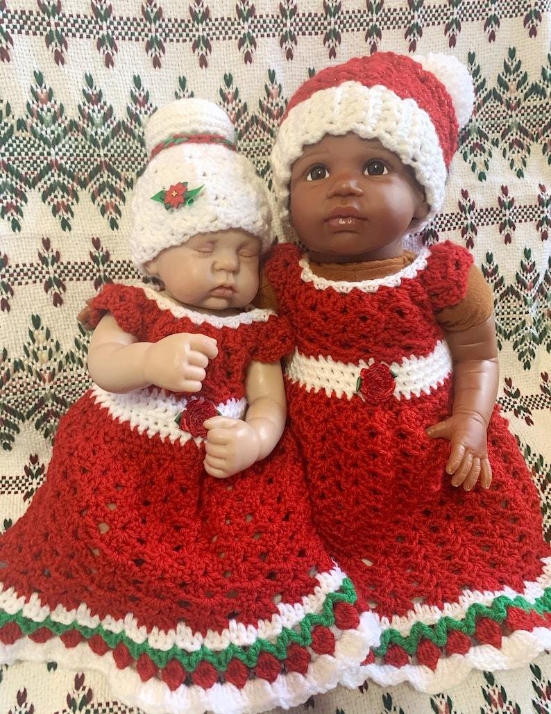 Made to Order Baby Girl Christmas Dress Crochet Dress /& Hat Santa Hat Mrs Santa Baby Photo Prop