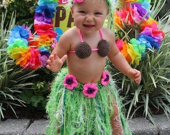 Baby Girl or Toddler Hawaiian HULA Grass Skirt Coconut Bra and Flower Headband - Made to Order Please PLAN Ahead