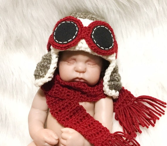Earflap Hat AG Doll Clothes Newborn Baby Boy or Girl Aviator Hat w Goggles and Scarf Fly ANY Colors Airplane Hat Photo Prop