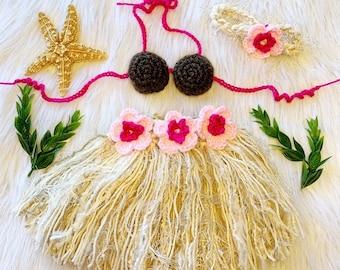 NEWBORN to 6 Mo - Hawaiian HULA Dancer Island Tropical Photo Prop-Grass Skirt Coconut Bra and Grass-like Headband - ADJUSTABLE Made to Order