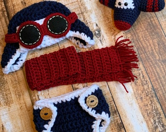 Newborn Baby Boy or Girl Aviator Hat w Goggles and Diaper- Fly - Airplane Hat - Photo Prop - ANY Colors - Earflap Hat