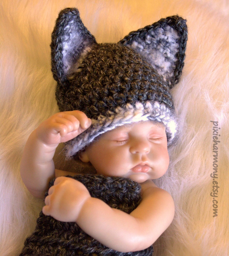 Gray White Boy Any Colors Baby WOLF Hat and Cape PHOTO Prop Made to ORDER- Cocoon Girl Costume
