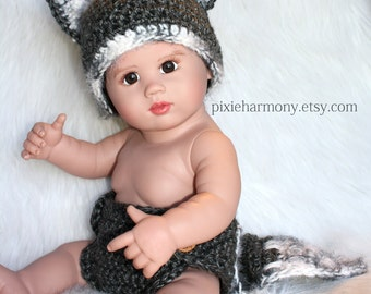 Baby Boy or Girl WOLF Hat and Diaper Cover Or Cape PHOTO Prop - Reborn Doll Costume- Made to ORDER- Gray White - Any Colors