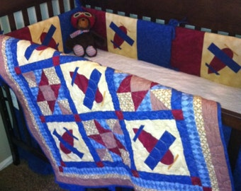 Airplane Baby Quilt PATTERN - PDF - Boy or Girl - throw quilt - EASY
