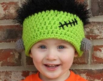 TODDLER & Small CHILD Frankenstein Hat - Frankenbaby Hat - Halloween - Trick or Treat
