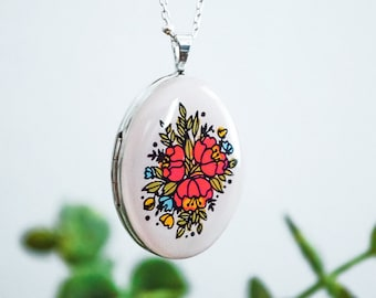 Large Sterling Silver Floral Locket - Heirloom Pendant Style Necklace