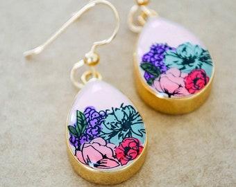 Flower Painted Drop Earrings - Gold Filled Dangle Earrings