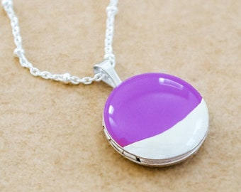 Silver Dipped Enamel Necklace - Small Round Sterling Silver Locket