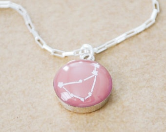 Round Sterling Silver Celestrial Necklace - Personalized Zodiac Star Contstellation Necklace