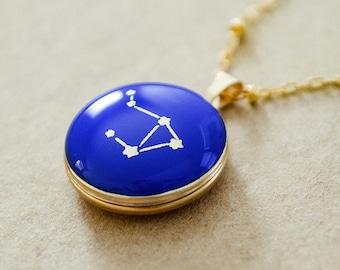 Zodiac Sign Gold Locket Necklace - Libra Star Constellation