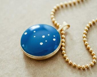 Celestial Gold Locket Necklace - Zodiac Sign Necklace - Leo Star Constellation