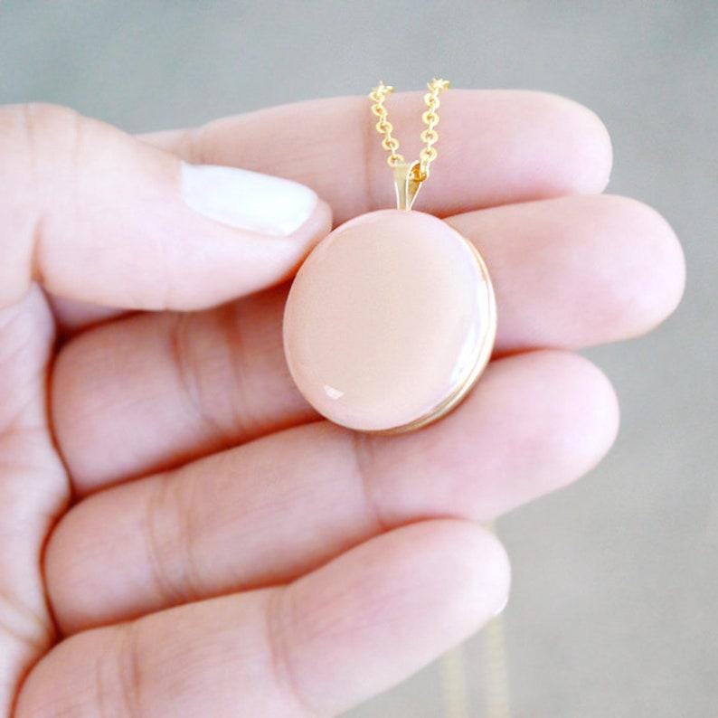 Large Round Gold Filled Locket Necklace  Enamel Jewelry image 0