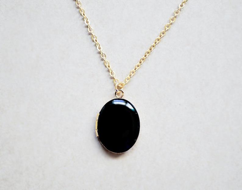 Gold Locket  Black Enamel Pendant  Photo Charm Necklace image 0