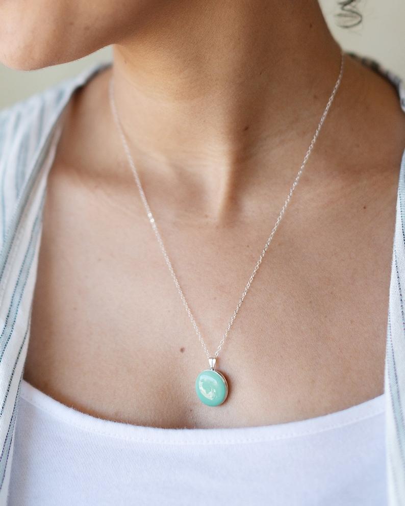 Mint Green Enamel Sterling Silver Locket Necklace  Minimalist image 0