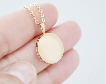 Round Brushed Gold Locket Heirloom Necklace - Small 14K Gold Filled