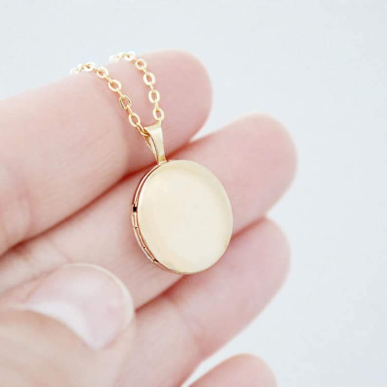 Round Gold Locket Heirloom Necklace  Small 14K Gold Filled image 0