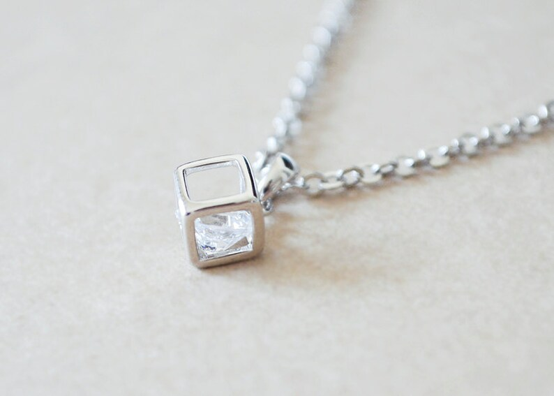 Silver Cube Frame Necklace with Floating Diamond Inside image 0