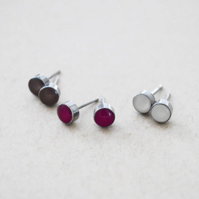 Stainless Steel Stud Earrings  Medium 6mm Round  Any Color image 0