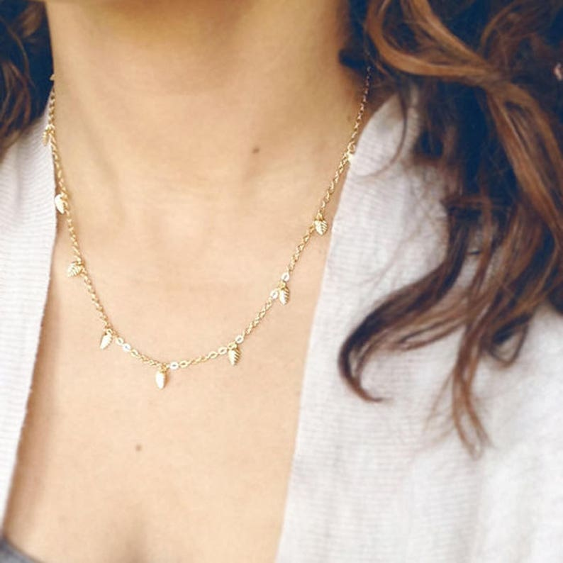 Small Leaf Charm Necklace  Layering Chain Style image 0