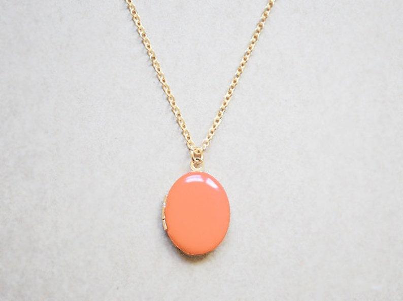 Women's Gold Locket  Orange Creme Charm Necklace image 0