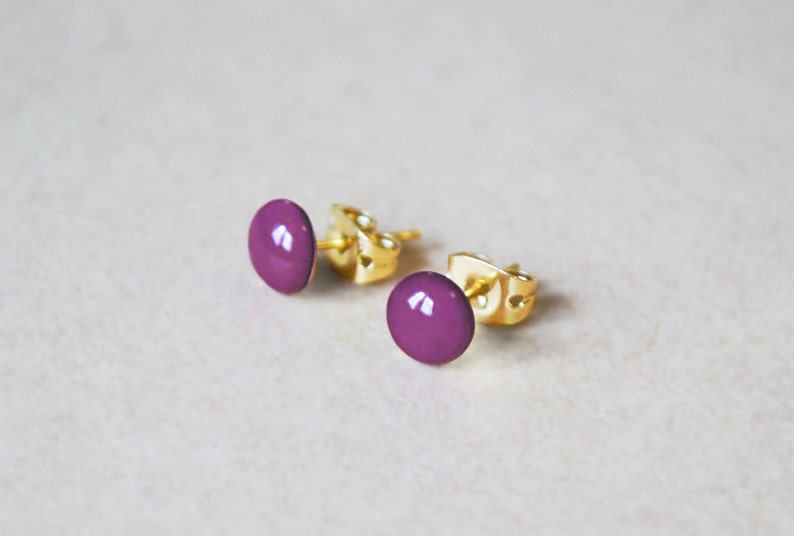 14K Gold Filled Enamel Stud Earrings image 0
