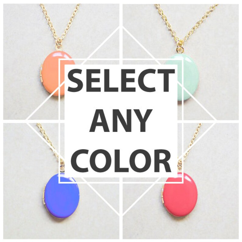 Choose your color  Medium Oval Locket Necklace image 0