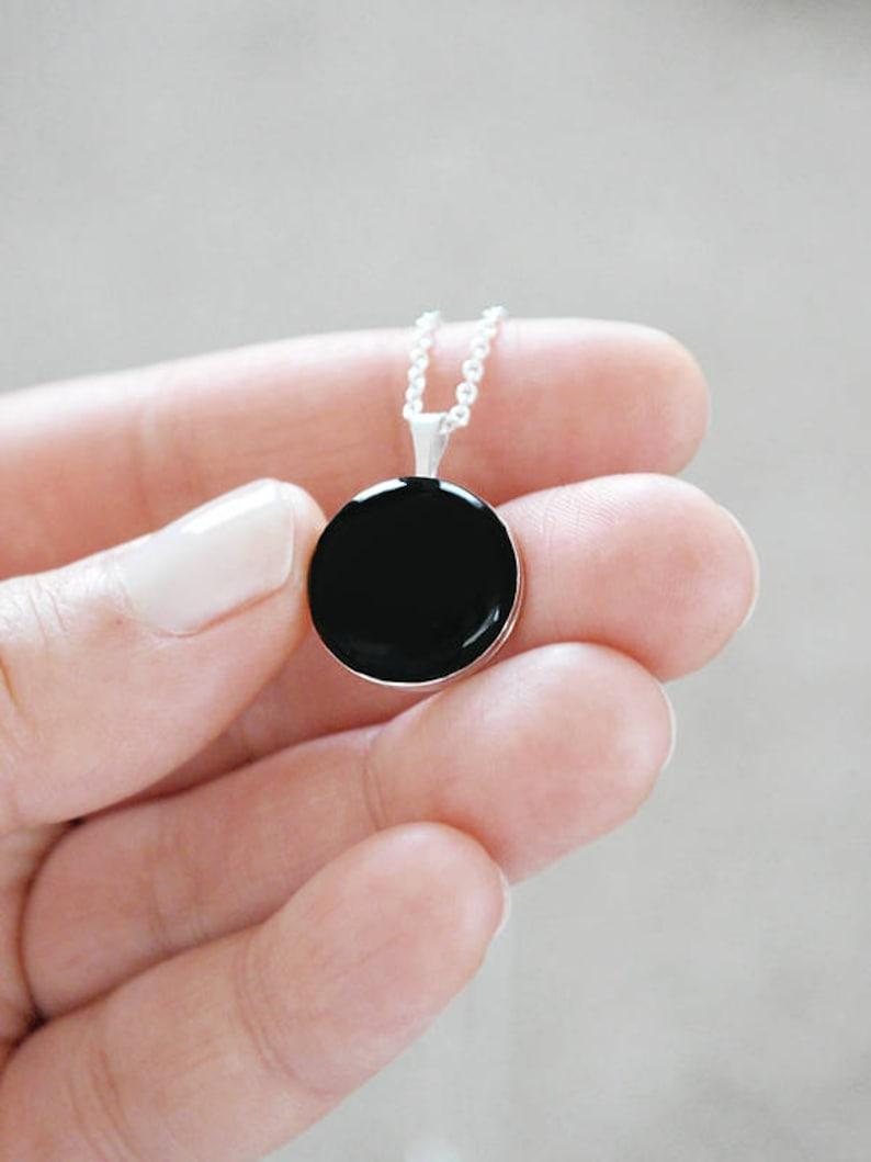 Black Enamel Sterling Silver Locket Necklace  Minimalist image 0
