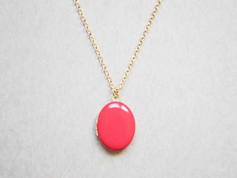 Women's Gold Locket  Tangerine Charm Necklace image 0