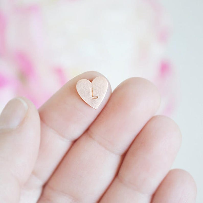 Copper Letter Stamped Heart Charm  Floating charm for inside image 0