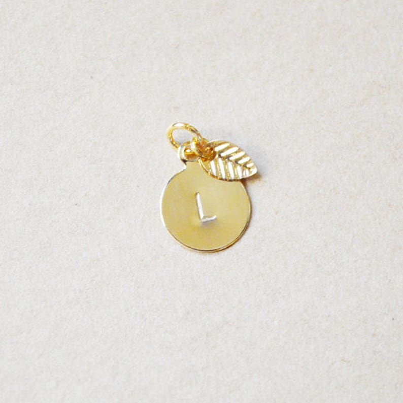 Small Gold Letter Stamped Initial with Leaf  Charm Only image 0