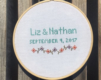 Personalized Wedding gift for couple, cross stitch with wedding date, newlywed gift, anniversary gift, custom cross stitch