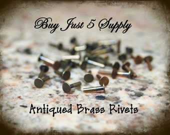 """Rivets, Brads, Antiqued Brass, Nail Head, 1/4"""" for Riveting Your Metal Blanks, Filigree, Jewelry, Leather.. 50 for You"""