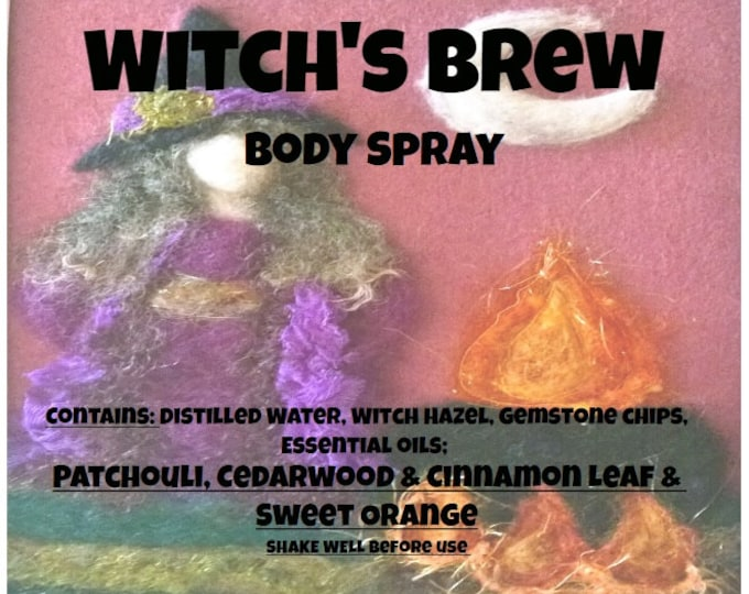 Witches Brew Body Spray wtchb046 Patchouli, Red Cedarwood, Cinnamon Leaf, Sweet Orange & Gemstone chips