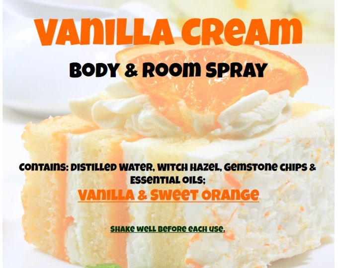Vanilla Cream Fabric and Body Spray vnlc038 with Vanilla, Sweet Orange Essential Oils & Gemstone chips