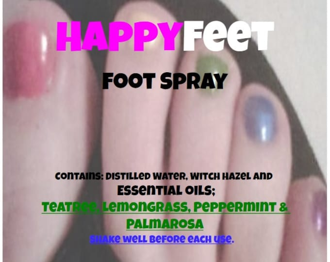 HappyFeet Foot Spray with Teatree, Lemongrass, Peppermint, Palmarosa & Gemstone chips