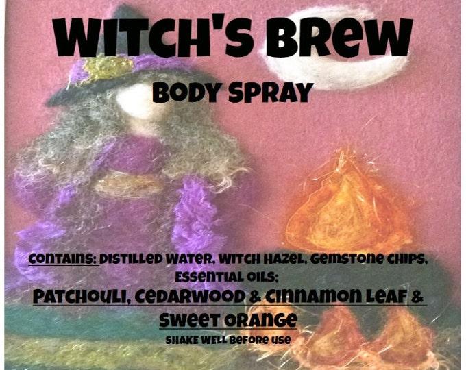 Witches Brew Body Spray wtchb046 Patchouli, Red Cedarwood, Cinnamon Leaf, Sweet Orange & Gemstone chips