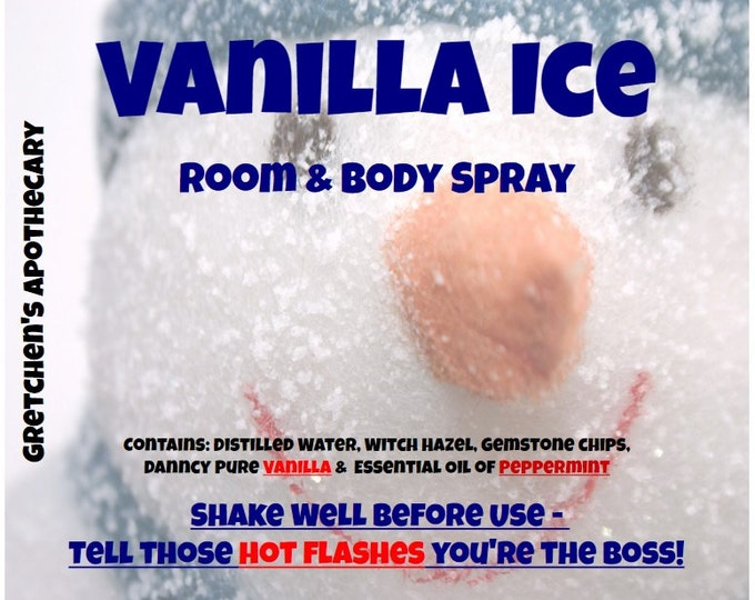Vanilla Ice Cooling Body & Odor Neutralizer Room Spray with Peppermint, vanilla, gemstone chips vnli039