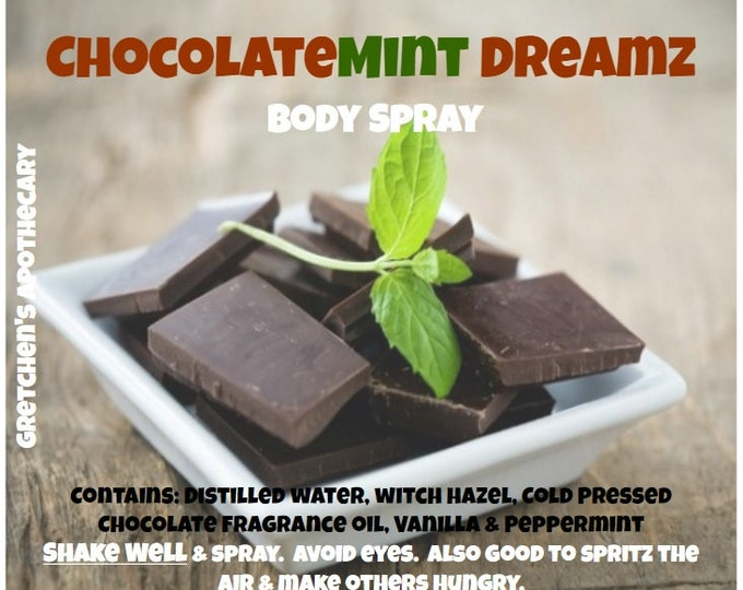 ChocolateMint Dreamz Room and Body Spray chlt015 with Chocolate fragrance, Vanilla, Peppermint & Gemstone Chips