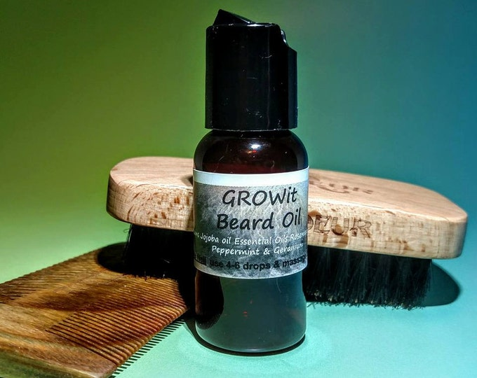 GROWit Beard oil brd003b with Jojoba, Rosemary, Vetiver, Peppermint & Geranium 1oz