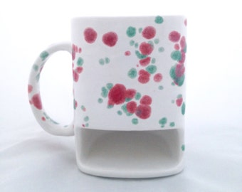 Christmas Cookie Dunk Mug - Red and Green Speckled Cookies and Milk Mug - Pottery