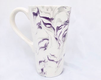Ceramic Tall Latte Mug - Coffee Cup Pottery -  Purple Gray White