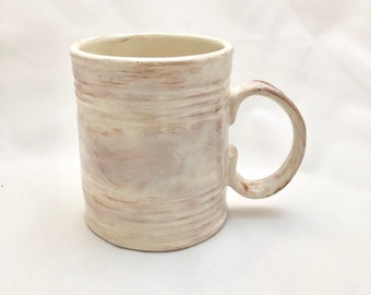 Ceramic Tin Can Mug -  Ivory and Rusty Brown - Coffee Cup Pottery 16 oz.