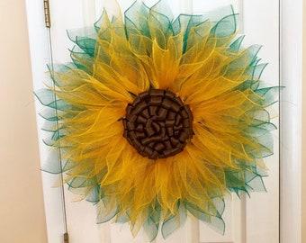 Sunflower Wreath Door Hanger - Summer Yellow Flower Door Decor