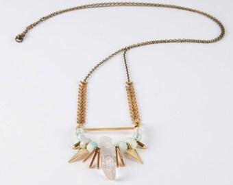 Mixed Metal Quartz Crystal Necklace // Geometric Jewelry // Healing Necklace // Chevron Necklace // Crystal Necklace // Beads // Quartz