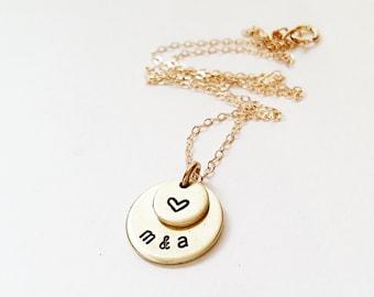 Love and Friendship Necklace, Initials Necklace for Best Friends, Boyfriend/Girlfriend, Engagement, Wedding, Heart, Gift for Her, Girlfriend