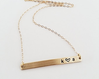 Initials and Heart Necklace // 14kt Gold Bar Necklace // Initials Necklace // Personalized Necklace // Boyfriend/Girlfriend Necklace