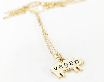 Vegan Pig Necklace // 14kt Gold Chain Pig Necklace // Animal Rights // No Cages // Pig Jewelry // Activist Jewelry // Freedom for ALL