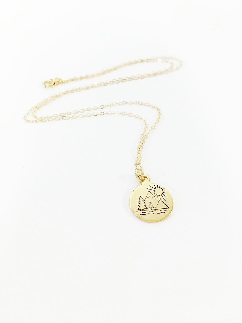 Mountain Range with Sunrise Necklace  The Best View Comes After the Hardest Climb  Strength  Inspirational  Mountain Climber  Gift